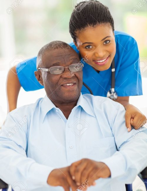 22062875-elderly-african-american-man-and-caring-young-caregiver-at-home-Stock-Photo